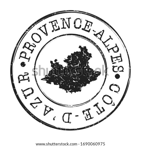 Provence-Alpes-Côte d'Azur, France Map Postmark. A Silhouette Postal Passport. Stamp Round Vector Icon. Vintage Postage Designs. Photo stock ©
