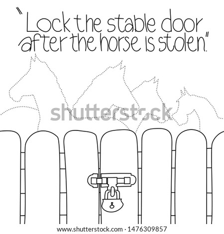 "Proverbial illustration ""Lock the stable door after the horse is stolen.""Doodle pattern. Teaching images, images of various images"