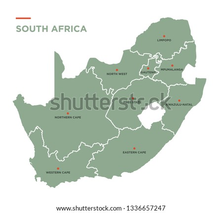 Province map of the Republic of South Africa.