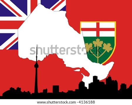 Province of Ontario on their flag with Toronto skyline
