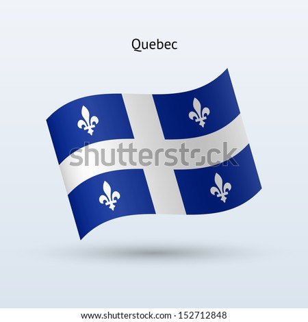 Province of Quebec flag waving form on gray background. Vector illustration.