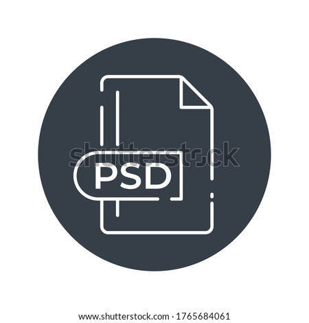 PSD File Format Icon. PSD extension filled icon.