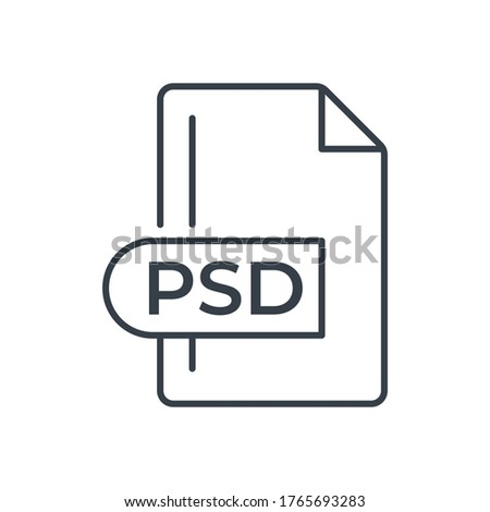 PSD File Format Icon. PSD extension line icon.