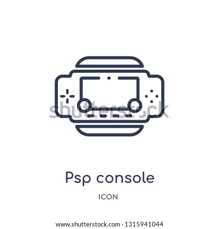 psp console icon from technology outline collection. Thin line psp console icon isolated on white background.