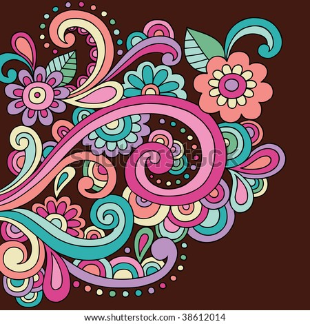 Psychedelic Abstract Paisley Doodle Vector Illustration
