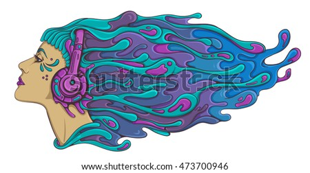 psychedelic acid trance dj girl