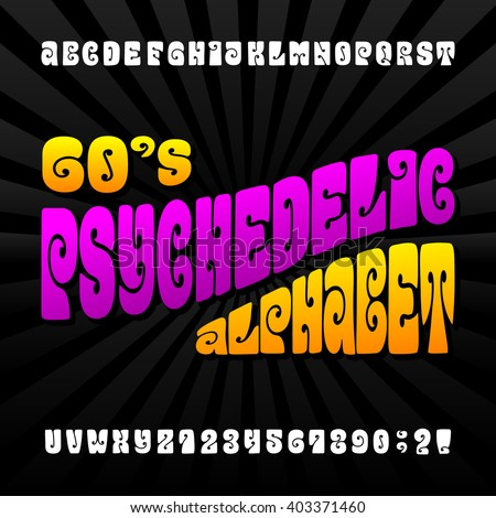 psychedelic alphabet font hand