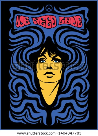 Psychedelic Art Poster Woman and Decorative Background 1960s Hippie Style