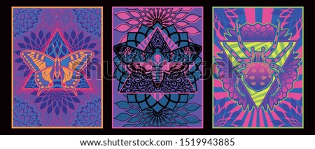 Psychedelic Art Posters 1960s, 1970s Style, Butterfly, Moth, Spider, Colorful Ornate Backgrounds
