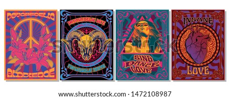 Psychedelic Art Posters, 1960s, 1970s Style, Vintage Colors and Shapes, Peace Symbol, Hippie Girl, Ram Skull, Anatomical Heart, Lily Flowers
