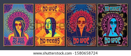 Psychedelic Art Women Portraits, Mandala Ornaments, Colorful Backgrounds 1960s, 1970s Style