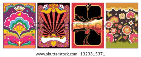 Psychedelic Backgrounds, Covers, Posters Template Hippie Style from the 1960s