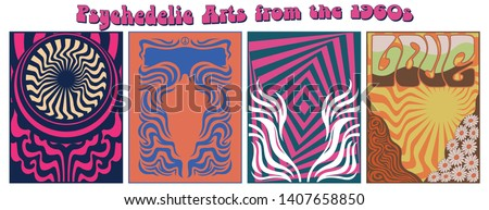 Psychedelic Backgrounds from the 1960s Hippie Art Style Posters