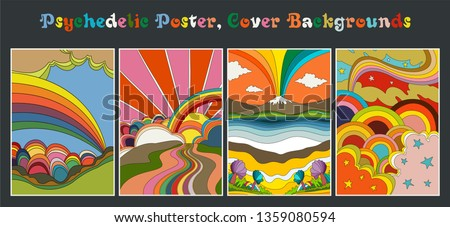 Psychedelic Backgrounds from the 1960s Vintage Colors, Poster Templates