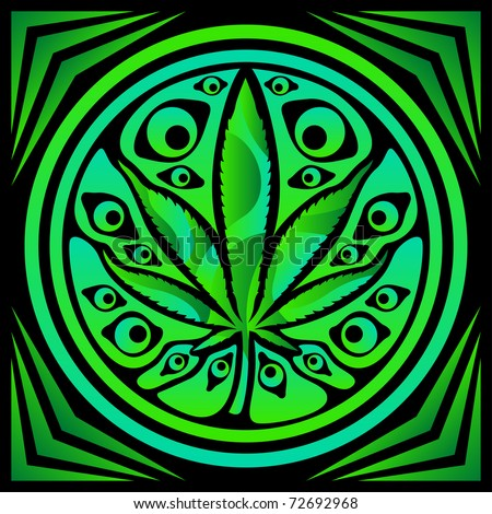 psychedelic cannabis vector sign