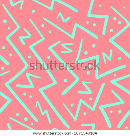 Psychedelic chaotic pink and green zig zag with dots seamless pattern. Abstract fashion trendy vector texture with hand drawn zigzag lines for textile, wrapping paper, surface, background