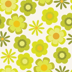 Psychedelic chartreuse floral seamless vector pattern. Retro bold, groovy design with yellow and lime green flowers. 1970's and 60's style summer and spring print. Repeat background wallpaper texture.