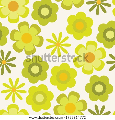 Psychedelic chartreuse floral seamless vector pattern. Retro bold, groovy design with yellow and lime green flowers. 1970's and 60's style summer and spring print. Repeat background wallpaper texture. Stockfoto ©