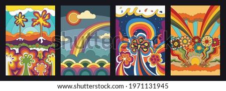 Psychedelic Floral Backgrounds, Fantastic Flowers, Volcano, Rainbows, Fantasy Landscapes