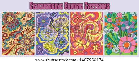 Psychedelic Floral Patterns 1960s Hippie Style Art, Vintage Colorful Backgrounds