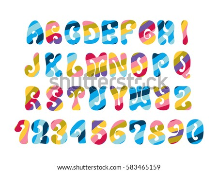 psychedelic font with colorful
