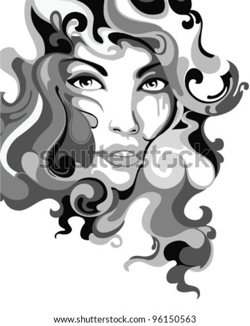 Psychedelic Graffiti Girl Vector Illustration - stock vector