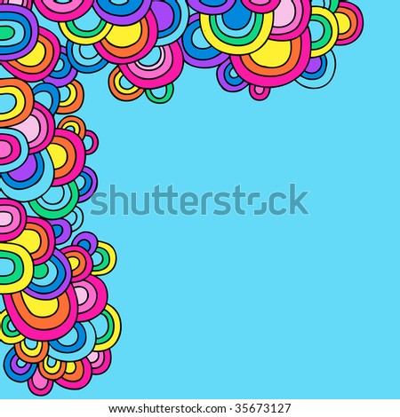 Psychedelic Groovy Abstract Semi-Circle Border Vector