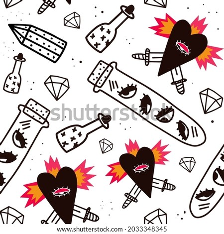 psychedelic halloween tree seamless pattern.Black-white ornament in the style of punk rock 70s,80s - heart, daggers, potion, crystals.Modern magic and witches - print on fabric.Doodle hand drawn style