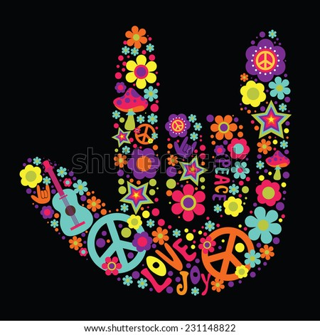 psychedelic hand sign design
