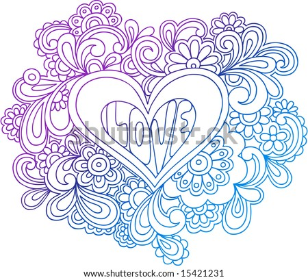 Sparrow outline hip tattoo. stock vector : Psychedelic Heart Outline Vector