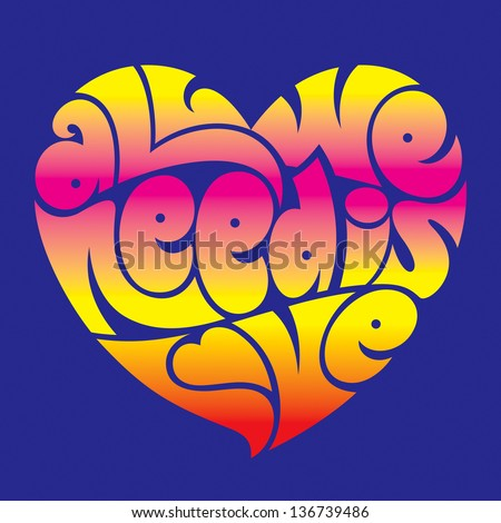 psychedelic heart typography