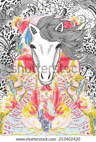 psychedelic horse illustration
