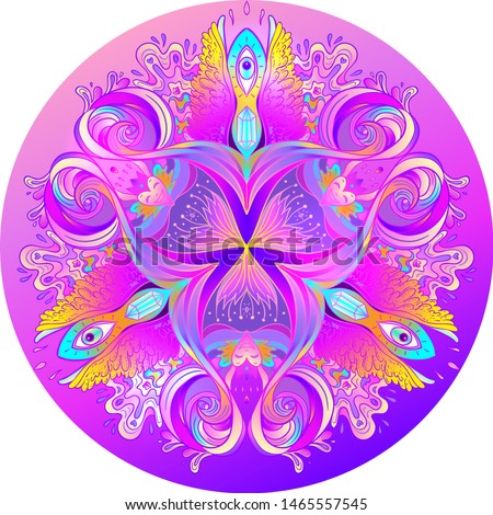 Psychedelic mandala. Mandala. Beautiful vintage round pattern. Vector illustration. Psychedelic neon composition. Indian, Buddhism, Spiritual Tattoo, yoga, spirituality. Sticker, patch, poster graphic