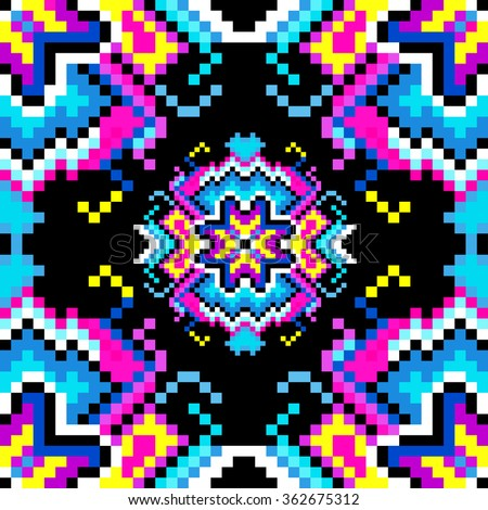 psychedelic pixels on a black