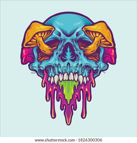 Psychedelic Skull Magic Mushroom mascot illustrations for merchandise