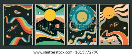 Psychedelic Space Posters, 1960s Poster, Cover Templates, Abstract Background Set