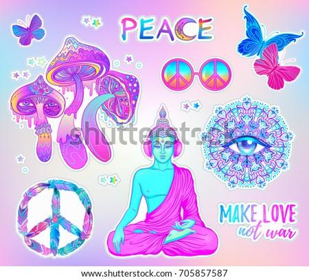psychedelic sticker set  trippy