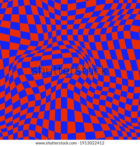 PSYCHEDELIC WARPED CHECKERBOARD. VECTOR SEAMLESS PATTERN Сток-фото ©