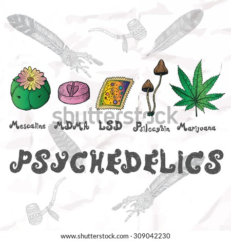 psychedelics set hand drawn