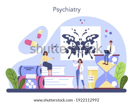 Psychiatrist concept. Mental health diagnostic. Doctor treating mind disease with psychiatry. Psychological support. Vector flat illustration Foto stock ©