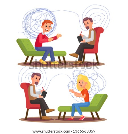 Psychiatry, Psychology Professional Consultation Vector Illustration Set. Psychiatry Therapy. Psychiatrist, Patient Talking Characters. Mental Health. Psychologist Appointment, Visit Flat Clipart