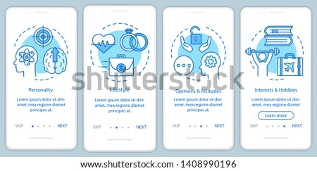 Psychographics targeting blue  onboarding mobile app page screen vector template. Personality lifestyle  walkthrough website steps with linear illustrations. UX, UI, GUI smartphone interface concept