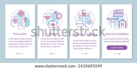 Psychographics targeting onboarding mobile app page screen with linear concepts. Personality lifestyle walkthrough steps graphic instructions. UX, UI, GUI vector template with illustrations