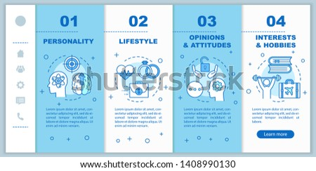 Psychographics targeting  onboarding mobile web pages vector template. Responsive smartphone website interface idea with linear illustrations. Webpage walkthrough step screens. Color concept