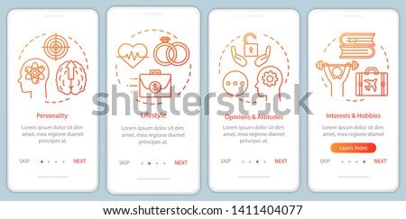 Psychographics targeting orange gradient onboarding mobile app page screen vector template. Walkthrough website steps with linear illustrations. UX, UI, GUI smartphone interface concept
