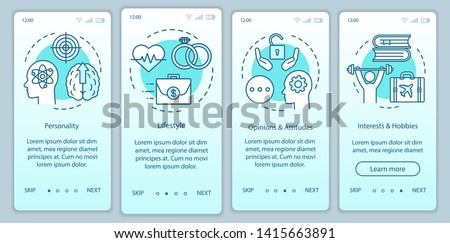 Psychographics targeting turquoise gradient onboarding mobile app page screen vector template. Walkthrough website steps with linear illustrations. UX, UI, GUI smartphone interface concept