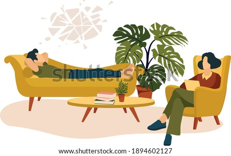 Psychological care vector illustration. Therapy. Man lying on the couch. Doctor listening in armchair. Monstera, table. Books. Psychological treatment. Solving problems. office. Mental health care Foto stock ©