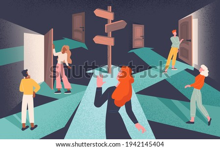 Psychological concept of choices and Finding or Choosing the right life path with group of diverse people following intersecting paths to doors with central signpost on arrow, flat vector illustration