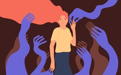 Psychological concept of influence, manipulation or addiction. Young woman surrounded by giant creeping hands. Vector illustration