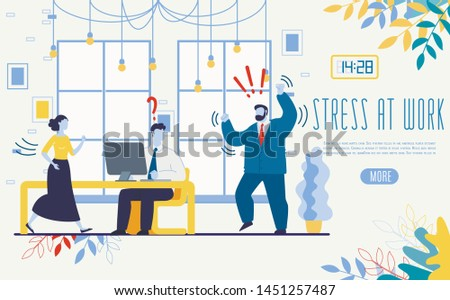 Psychological Consultations and Help for Businesspeople Flat Vector Web Banner, Landing Page Template. BusinessmanStruggling with Nervous Breakdown, Emotional Problems, Stress at Work Illustration